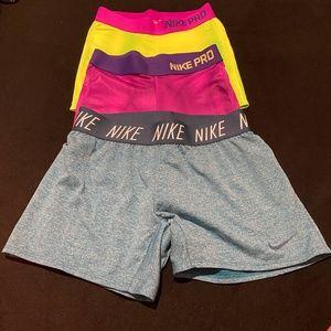 LOT OF 3 Nike Pro Spanx & Running Shorts Youth LG
